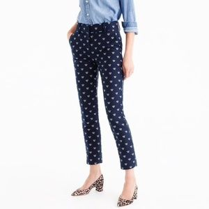 NWT J.Crew Navy Bumble Bee Printed Trousers
